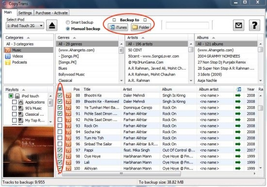 CopyTrans transfer songs from iPod to PC