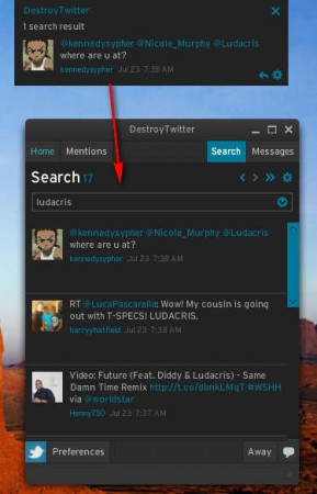 Destroy Twitter search notification tabs