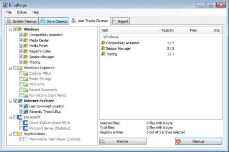DrivePurge user tracks