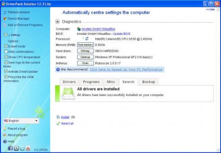 Driver Pack Solution default window