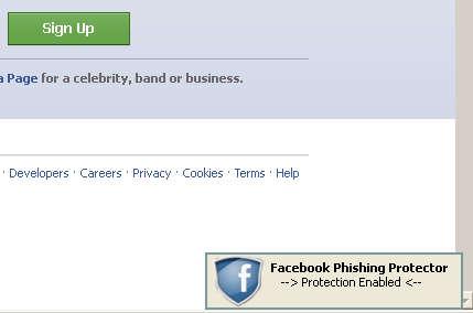 FB Phishing Protector default window
