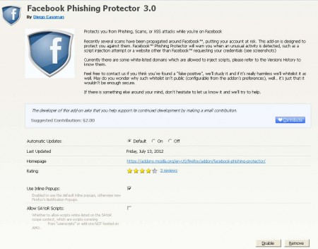 FB Phishing Protector options