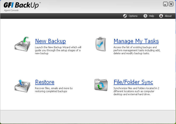 GFI Backup default window
