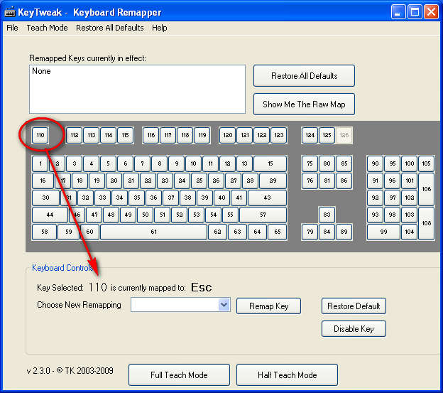 KeyTweak changing key