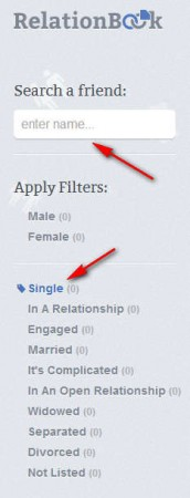 RelationBook filtering friends