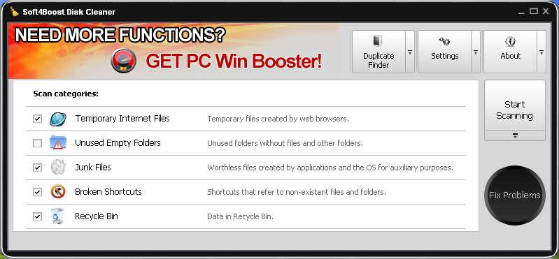 Soft4Boost Disk Cleaner default window