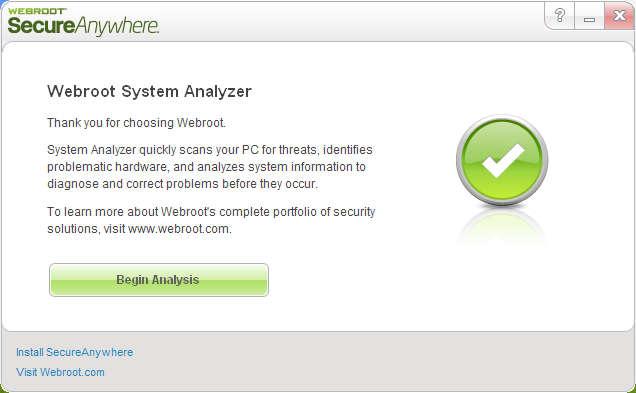 Webroot System Analyzer default window