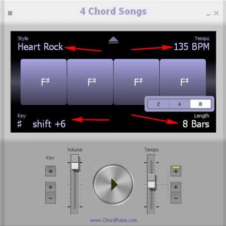 4 Chord Songs settings