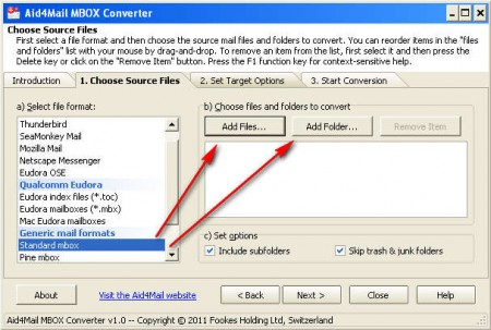 Aid4Mail MBOX Converter adding emails