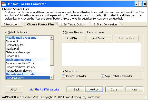 Aid4Mail MBOX Converter default window