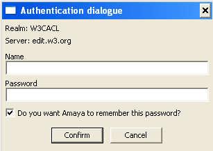 Amaya authentication dialog
