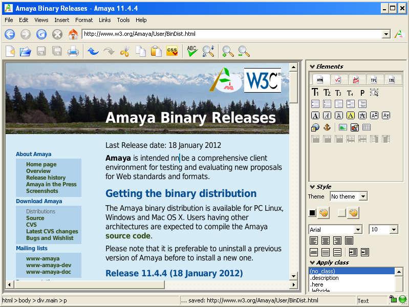 Amaya default window