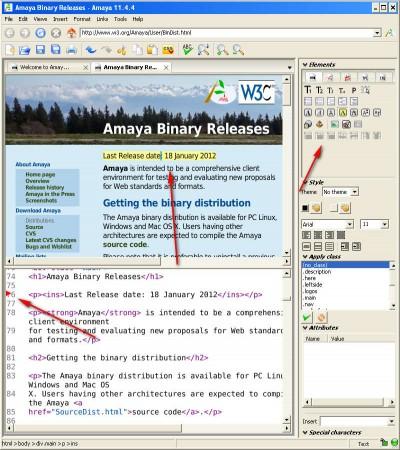 Amaya editing online document