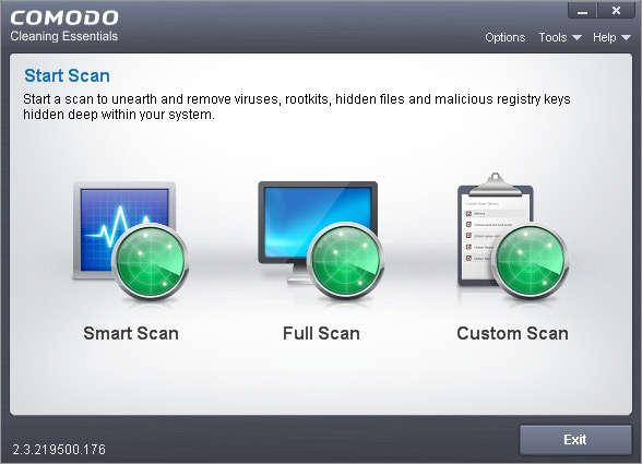 Comodo Cleaning Essentials default window
