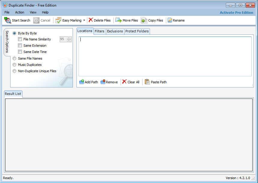 Duplicate Finder default window