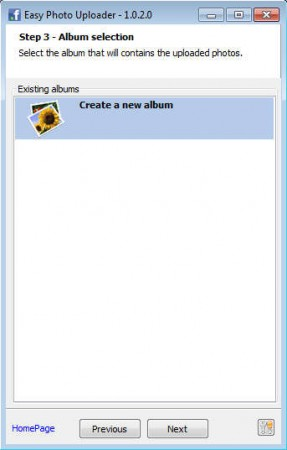 Easy Facebook Photo Uploader selecting album