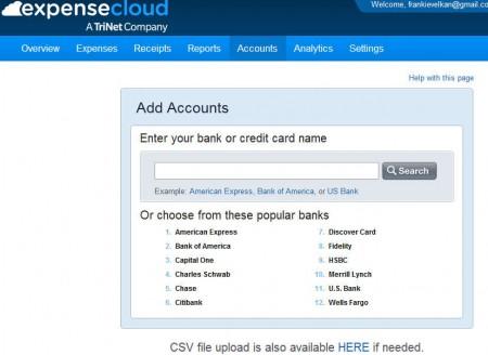 Expense Cloud adding accounts