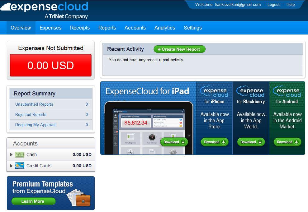 Expense Cloud default window