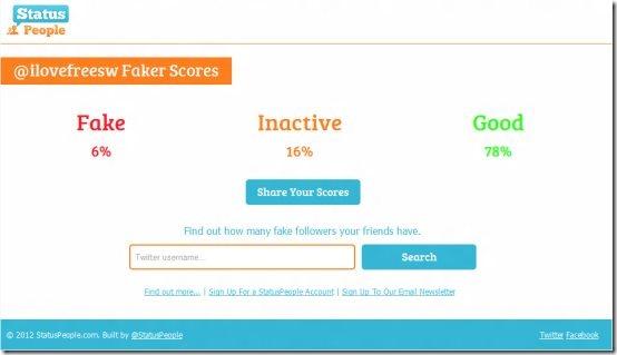 FakeFollower result
