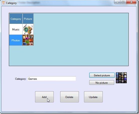 File and Folder Description add category