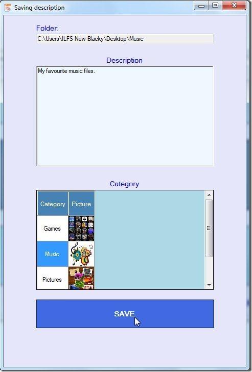File and Folder Description add folders