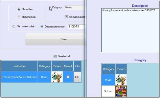 File and Folder Description filter desdription