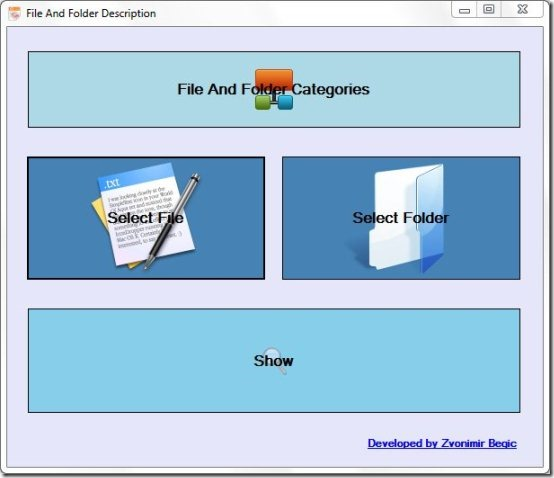 File and Folder Description main interface