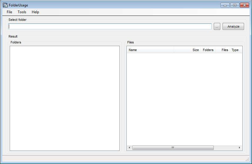 Folder Usage default window