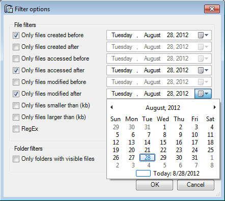 Folder Usage filters