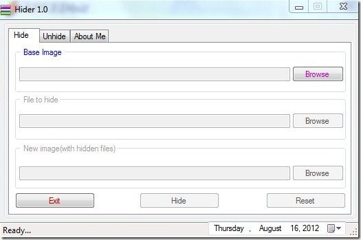 Hider Interface to hide files