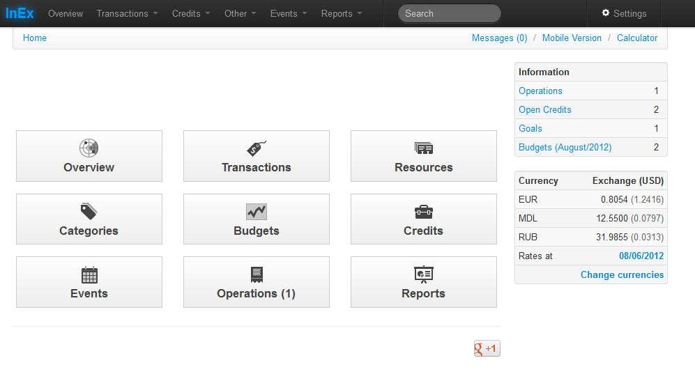 InEx Finance default window