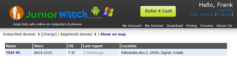 JuniorWatch default window