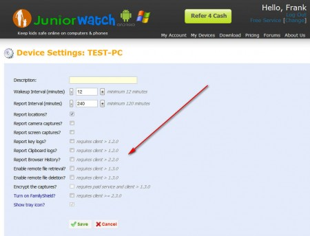 JuniorWatch device settings