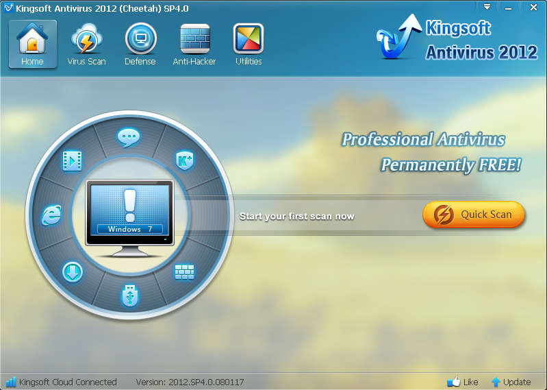 Kingsoft Antivirus 2012 default window