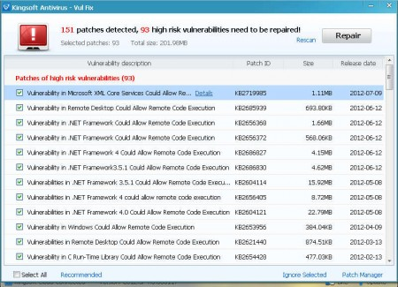 Kingsoft Antivirus 2012 patches detected install
