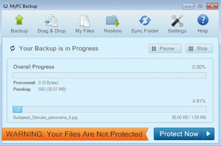 MyPCBackup upload in process