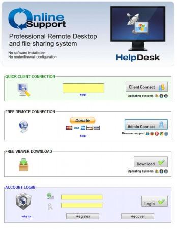 Online Support default window
