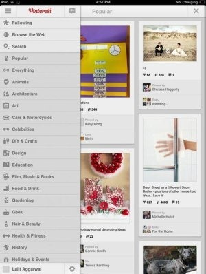 Pinterest App categories
