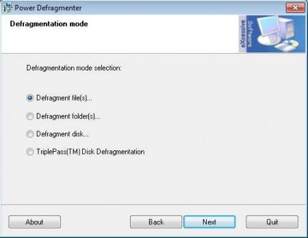 Power Defragmenter options