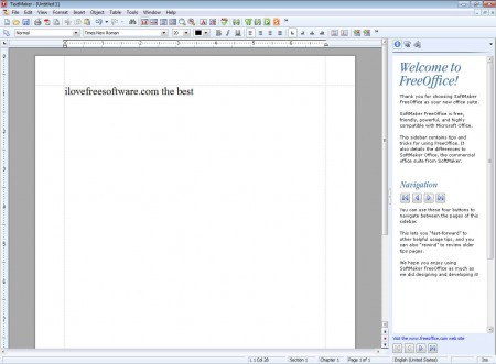 SoftMaker FreeOffice default window