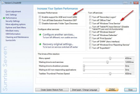 Sunrise Seven disable services speed