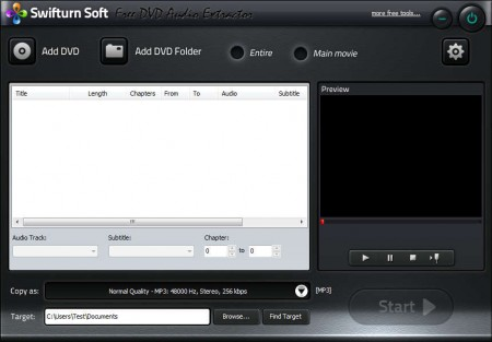 Swiftburn DVD Audio Extractor default window