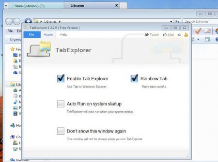 Tab Explorer control panel