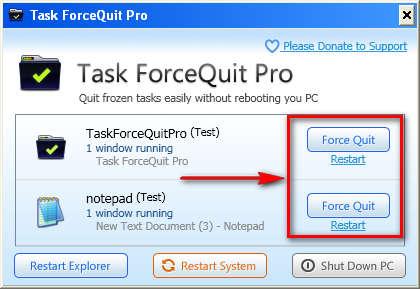 Task ForceQuit quitting application