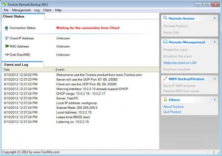 Toolwiz Remote Backup 2012 default window