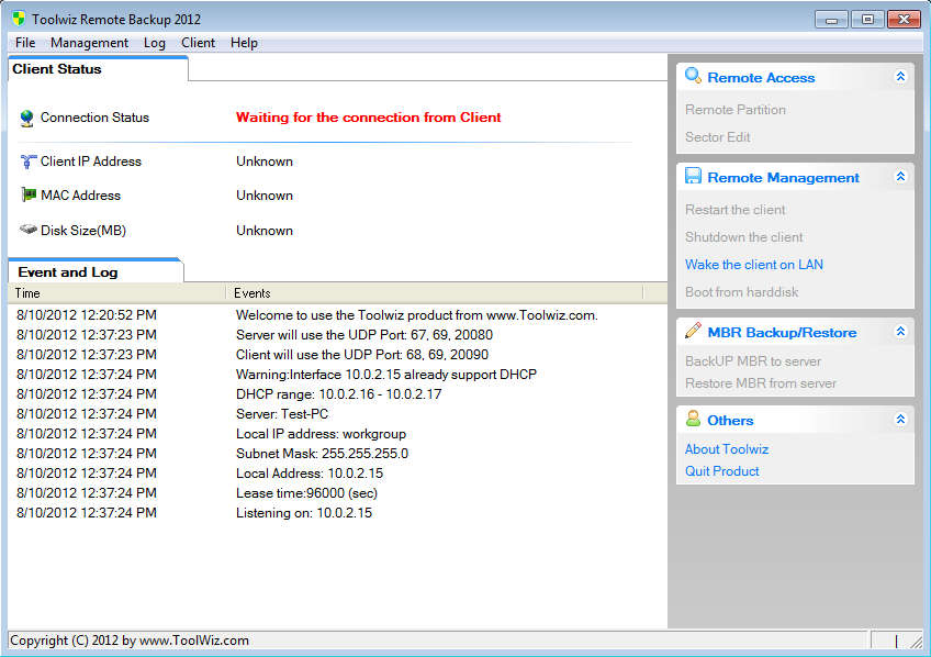 Toolwiz Remote Backup 2012 default window