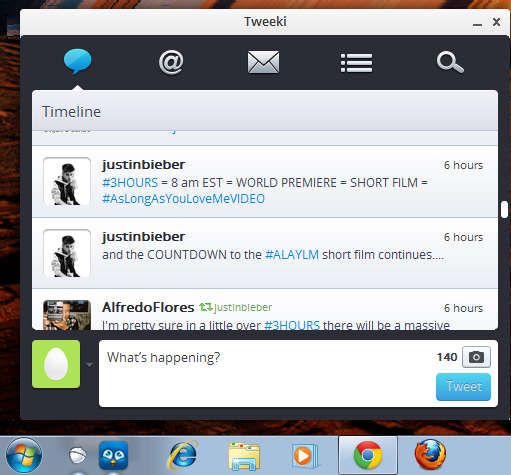 Tweeki default window