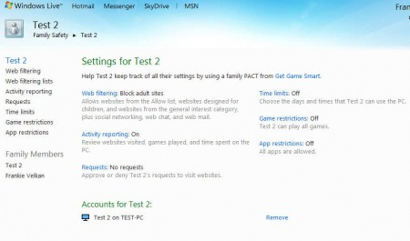 Windows Live Essentials 2012 Family Safety settings