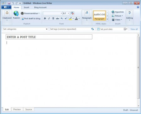 Windows Live Essentials 2012 Live Writer default window