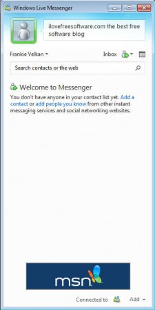 Windows Live Essentials 2012 Messenger compact view